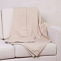 100% baby alpaca throw, 'Ecru Comfort' - 100% Baby Alpaca Throw in Ecru by Peruvian Artisans