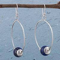 Lapis lazuli dangle earrings, 'Blue Orbits' - Lapis Lazuli and 925 Sterling Silver Hook Earrings for Women