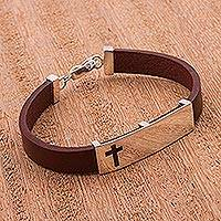 Sterling silver and leather cross wristband bracelet, 'Faith Alone' - Brown Leather and Sterling Silver with Cross Motif from Peru