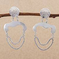 Sterling silver dangle earrings, 'Curvy Impact' - Sterling Silver Dangle Earrings by Peruvian Artisans