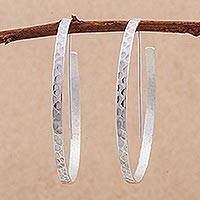 Sterling silver half-hoop earrings, 'Ice Cycles' - Modern Half Hoop Earrings in Hammered Sterling Silver