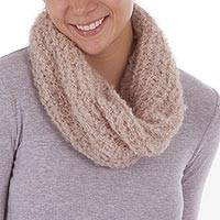 Baby alpaca blend neck warmer, 'Ecru Fashion' - Hand Crocheted Alpaca Blend Neck Warmer in Ecru from Peru
