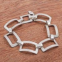 Sterling silver link bracelet, 'Modern Texture' - 925 Sterling Silver Modern Link Bracelet from Peru
