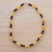 Citrine and tiger's eye beaded necklace, 'Maple Syrup' - Citrine and Tiger's Eye Beaded Necklace by Peruvian Artisans