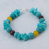 Multi-gemstone beaded bracelet, 'Blue Combination' - Multi-Gem Amazonite and Agate Beaded Bracelet from Peru