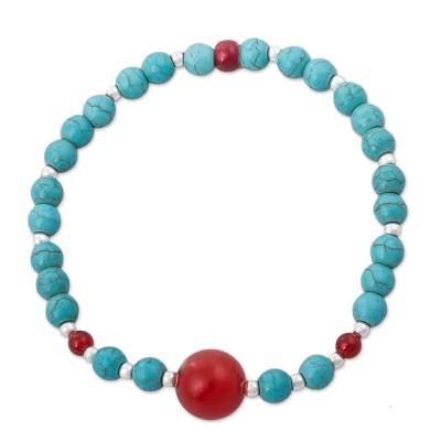 Carnelian and Reconsituted Turquoise Bracelet from Peru
