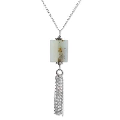 Opal pendant necklace, 'Sweet Star' - Opal and Sterling Silver Pendant Necklace from Peru
