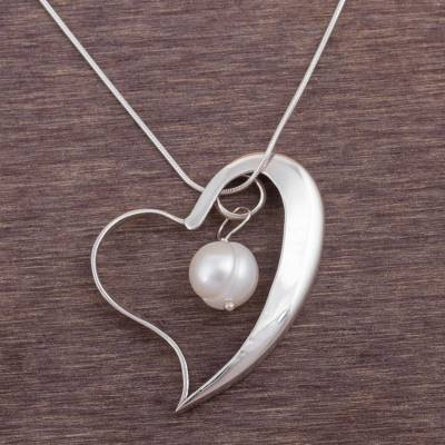 Cultured pearl pendant necklace, 'Circled by Love' - Cultured Pearl and Silver Heart Pendant Necklace from Peru