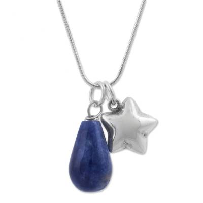 Sodalite pendant necklace, 'Starlit Ocean' - Sodalite and Sterling Silver Star Necklace from Peru
