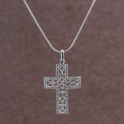 Sterling silver pendant necklace, 'Latticed Cross' - Artisan Crafted Sterling Silver Cross Necklace from Peru