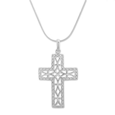 Sterling silver pendant necklace, 'Latticed Cross' - Artisan Crafted Sterling Silver Cross Necklace from Peru