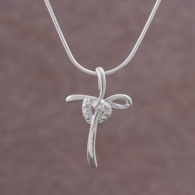 Sterling silver pendant necklace, 'Heart Cross' - 925 Sterling Silver Cross Heart Pendant Necklace from Peru
