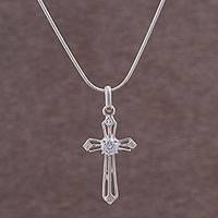 Sterling silver pendant necklace, 'Cross Sparkle' - Sterling Silver and CZ Cross Pendant Necklace from Peru