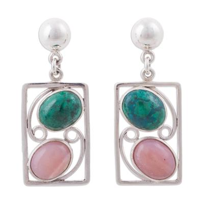 Chrysocolla and pink opal dangle earrings, 'Modern Portrait' - Chrysocolla and Pink Opal Modern Dangle Earrings from Peru