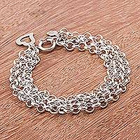 Sterling silver chain bracelet, 'Love Bond'
