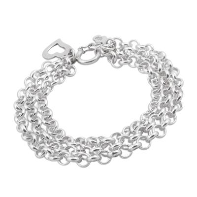 Sterling silver chain bracelet, 'Love Bond' - Three-Strand 925 Sterling Silver Chain Bracelet from Peru