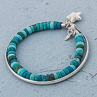 Chrysocolla beaded bangle bracelet, 'Starfish Treasure'