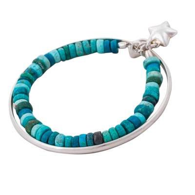 Chrysocolla beaded bangle bracelet, 'Starfish Treasure' - Chrysocolla Bracelet with 925 Silver Bangle and Starfish