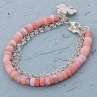 Opal beaded bracelet, 'Romantic Clover' - Clover Charm on Pink Opal Beaded Bracelet with 925 Silver