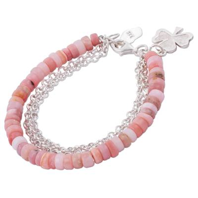 Opal beaded bracelet, 'Romantic Clover' - Clover Charm on Pink Opal Beaded Bracelet with 925 Silver