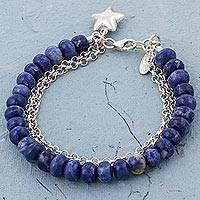 Sodalite beaded bracelet, 'Romantic Star' - Star Charm on Sodalite Beaded Bracelet with 925 Silver Chain
