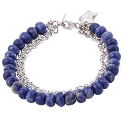 Sodalite beaded bracelet, 'Romantic Star' - Star Charm on Sodalite Beaded Bracelet with 925 Silver Chain