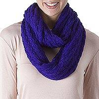 Alpaca blend infinity scarf, 'Fashionable Andes in Lapis' - Knit Alpaca Blend Infinity Scarf in Lapis from Peru