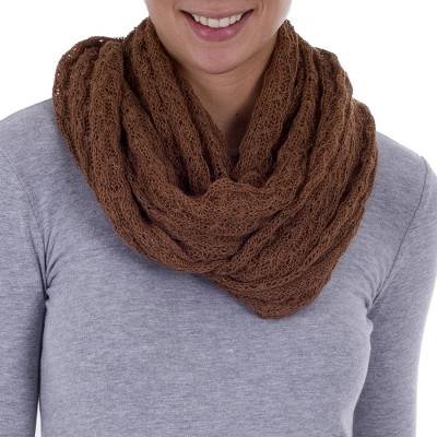Alpaca blend infinity scarf, 'Fashionable Andes in Spice' - Knit Alpaca Blend Infinity Scarf in Spice from Peru