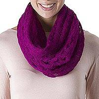 Alpaca blend infinity scarf, 'Fashionable Andes in Magenta'