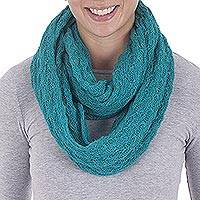 Featured review for Alpaca blend infinity scarf, Fashionable Andes in Teal