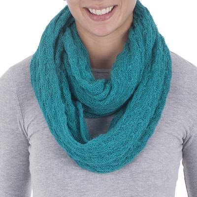 Alpaca blend infinity scarf, 'Fashionable Andes in Teal' - Alpaca Blend Knit Infinity Scarf in Teal from Peru