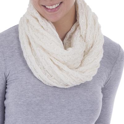Alpaca blend infinity scarf, 'Fashionable Andes in Ivory' - Hand Woven Alpaca Blend Scarf in Ivory from Peru