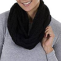 Alpaca blend infinity scarf, 'Fashionable Andes in Black'