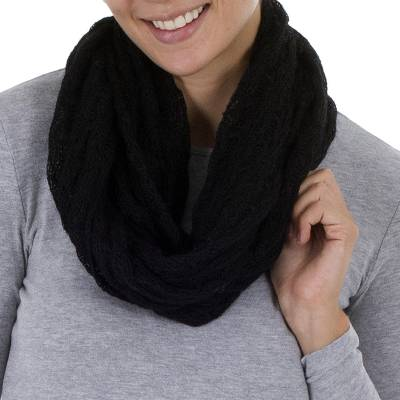 Alpaca blend infinity scarf, 'Fashionable Andes in Black' - Knit Alpaca Blend Infinity Scarf in Black from Peru