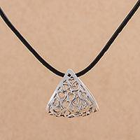 Sterling silver pendant necklace, 'Heart Cradle' - Sterling Silver and Leather Heart Pendant Necklace from Peru