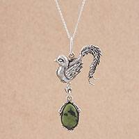 Serpentine pendant necklace, 'Flying Pheasant' - Serpentine and Silver Bird Pendant Necklace from Peru