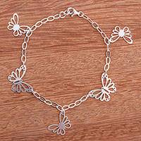 Sterling silver charm bracelet, 'Enchanting Butterflies' - 925 Sterling Silver Butterfly Bracelet by Adriana de Gadea