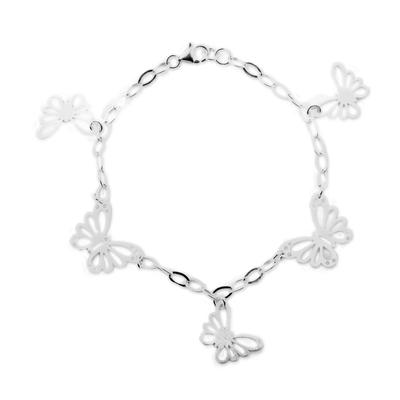 Sterling silver charm bracelet, 'Enchanting Butterflies' - 925 Sterling Silver Butterfly Bracelet by Peruvian Artisans