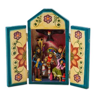 Wood retablo, 'Danza de las Tijeras' - Tornillo Wood Dance-Themed Retablo by Peruvian Artisans