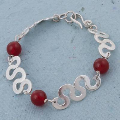 Agate link bracelet, 'Astral Waves' - Red Agate and Shiny Sterling Silver Link Bracelet from Peru