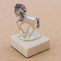 Bronze sculpture, 'Immortal Energy in Silver' - Antiqued Silver Tone Bronze Sculpture of a Horse from Peru