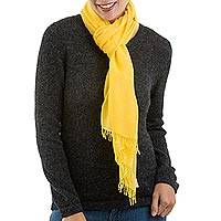 Pima cotton scarf, 'Joyful Color in Yellow' - 100% Pima Cotton Woven Peruvian Wrap Scarf in Yellow