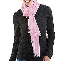 Pima cotton scarf, 'Joyful Color in Pink' - Pink Woven 100% Pima Cotton Wrap Scarf from Peru