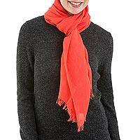 Pima cotton scarf, 'Joyful Color in Strawberry' - Woven Strawberry Red 100% Pima Cotton Wrap Scarf from Peru