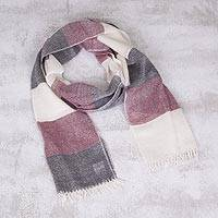 100% baby alpaca scarf, 'Andean Poise' - Baby Alpaca Fringed Scarf in Wine Black and Ivory from Peru