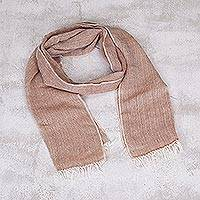 100% baby alpaca scarf, 'Natural Spice' - Baby Alpaca Fringed Scarf in Ginger and Natural White