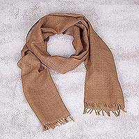 Baby alpaca scarf, 'Tan Sophistication' - Artisan Crafted 100% Baby Alpaca Scarf in Tan from Peru