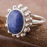 Sodalite cocktail ring, 'Blue Urchin' - Sodalite and Sterling Silver Cocktail Ring from Peru