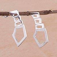Sterling silver drop earrings, 'Modern Shapes' - Artisan Crafted Sterling Silver Modern Earrings from Peru