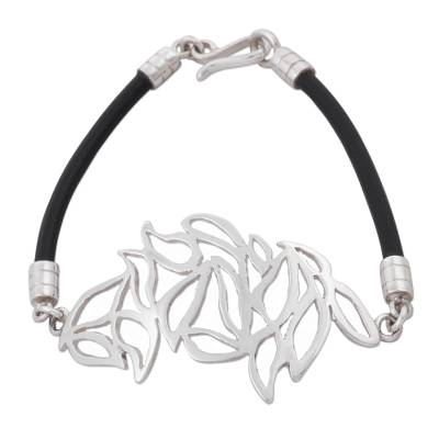 925 Sterling Silver Leaves on Black Caucho Rubber Bracelet